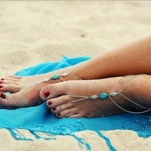New 1 Pc Turquoise Barefoot Sandals Beach Anklet